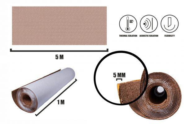Självhäftande korkrulle 5mm (5m)
