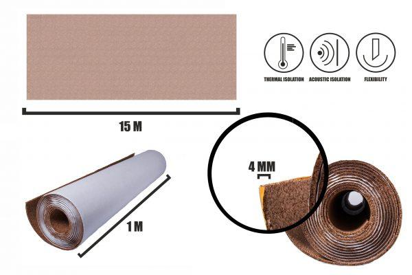 Självhäftande korkrulle 4mm (15m)