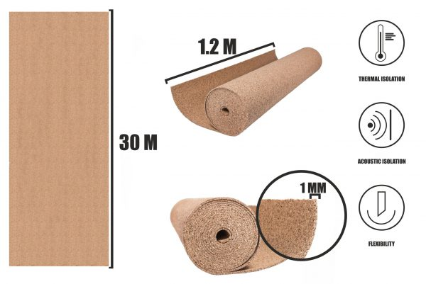 Korkrulle 1mm (30x1,2m)