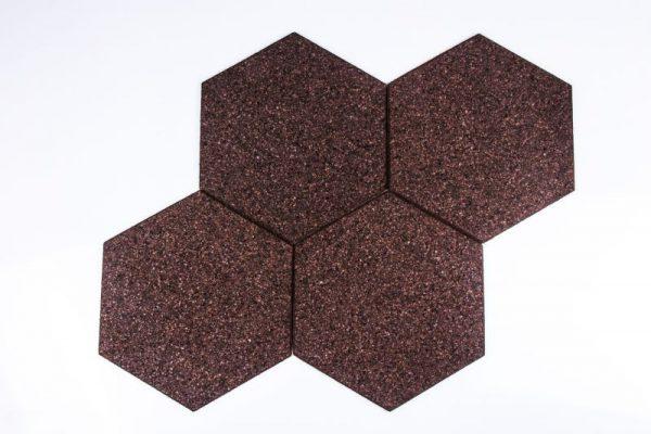 Kork Tavlor Hexagon Negro