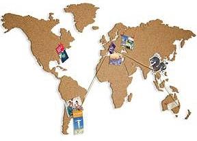 Korktavla Världskarta Liten Natural