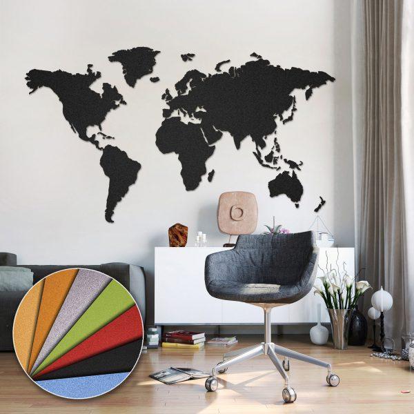 Korktavla Världskarta Svart 200x105cm