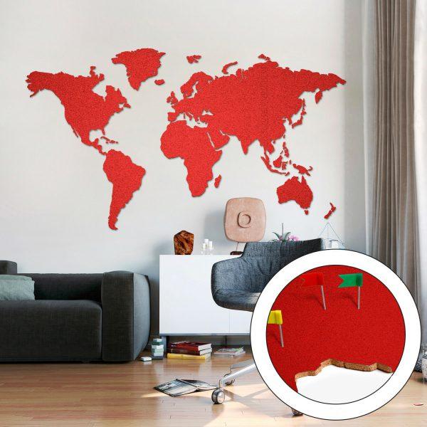 Korktavla Världskarta Röd 200x105cm