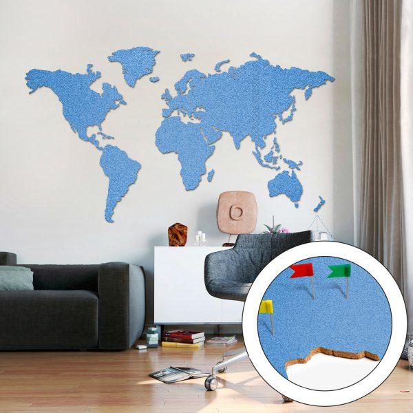 Korktavla Världskarta Blå 200x105cm