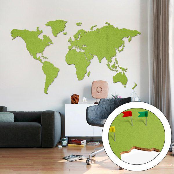 Korktavla Världskarta Grön 200x105cm